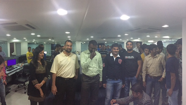 Wadih Pazos visits with the PaperSave team in India.